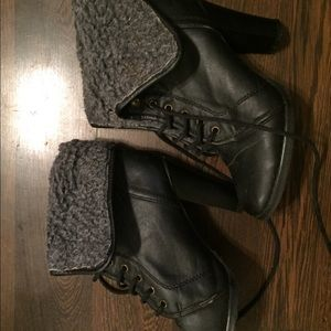 6.5 fur/leather folded boots with heel